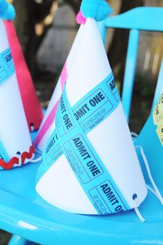 Hats made with tickets, cute! #SocialCircus