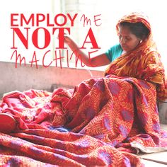 Employ me not a machine! Curate your own Fashion Takes Action Pintrest board featuring ethical and eco fashion and design for a chance to win! #fashiontakesaction