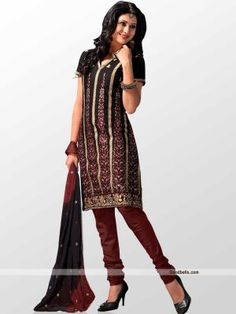 Get gorgeous look with this black shade salwar suit designed with thread work. Vertical heavy embroidery gives it designer look and makes it truly partywear dress. http://goodbells.com/salwar-suits/heavy-embroidered-black-shalwar-kameez.html