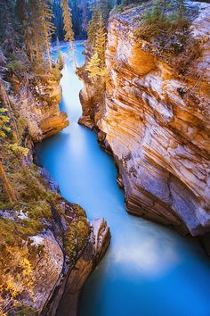 Athabasca Falls at dusk, Jasper National Park, Alberta, Canada Beautiful Places In The World, Places Around The World, Around The Worlds, Amazing Places, Parc National, National Parks, Places To Travel, Places To See, Travel Destinations