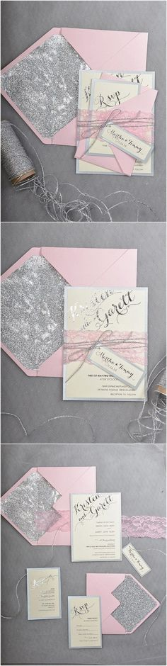 Rustic pink grey wedding invitations @4LOVEPolkaDots