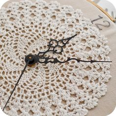 I hope I can find a doily that my mother made to make a clock like this for my craft room. Maybe even put some of her quilting fabric behind it, too!!