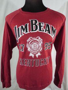 Jim Beam Official Sweater Mens Large Bourbon Whiskey Red White Black EUC #JimBeam #Crewneck