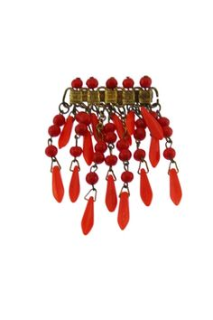 This beautiful red glass dangle brooch features a gold bar brooch with a fringe of many strands of red glass beads in two different shades. Art Deco Jewelry, Red Glass, Wind Chimes, Glass Beads, Dangles, Retro, Brooches, Earrings, Gold