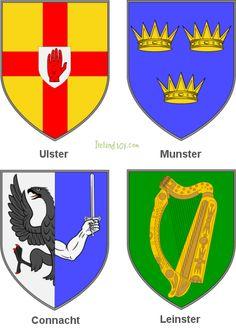 Four Counties of Ireland Irish Celtic, Celtic Fc, Irish Symbols, Irish Rugby, Erin Go Bragh, Uk Flag, Donegal, My Heritage, Coat Of Arms