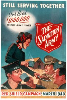 Retro Salvation Army poster from World War II great thrift store. Can find gifts for houses or homeless! Vintage Advertisements, Vintage Ads, Vintage Posters, Ww2 Propaganda Posters, Army History, Pin Up, Guys And Dolls, Poster Ads, Old Ads
