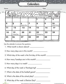 Reading a Calendar Worksheet Get 10 free worksheet downloads per month ...