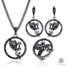 SALE $4.82 - Trendy Black Crystal Round Pendant Earrings Necklace Sets Jewelry Fashion Geometric Star Heart Design Women Vintage Jewelry Sets
