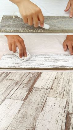 Easy tutorial & video on how to whitewash wood to create beautiful farmhouse white washed floor, shiplap wall & furniture on pine, pallet or reclaimed wood! – A Piece of Rainbow table ideas How to Whitewash Wood in 3 Simple Ways – An Ultimate Guide Distressed Wood Furniture, Weathered Wood, White Washed Furniture, Wood Wood, Wood Art, Painted Wood, Furniture Vintage, Farmhouse Furniture, Distressed Dresser