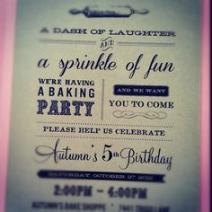 Little girl's baking birthday party!