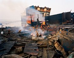 """The art: Edward Burtynsky, Shipbreaking Chittagong, Bangladesh, The news: """"Katherine Boo goes 'Behind the Beautiful Forevers' in Mumbai,"""" by Jessica Gelt in the Los Angeles Times. Landscape Photography, Art Photography, Contemporary Photography, Contemporary Art, Ship Breaking, Web Gallery, Industrial Photography, Art And Architecture, Marketing Digital"""