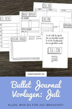 Bullet Journal Vorlagen zum Ausdrucken: Sichere dir jetzt die Juli Monatsübersicht, Juli Tracker und noch mehr Bullet Journal Vorlagen in unserem Julipaket!