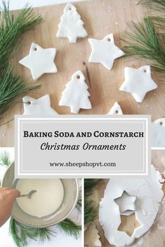 I just made a batch of beautiful pure white baking soda and cornstarch ornaments and I am so excited to sprinkle them throughout our home this Christmas. Decoration Christmas, Christmas Ornament Crafts, Noel Christmas, Christmas Crafts For Kids, Christmas Projects, Holiday Crafts, Holiday Fun, Homemade Christmas Tree Decorations, Rustic Christmas Crafts