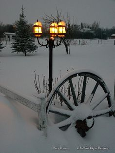 Home lights glow in the gathering darkness after a snow storm (Alberta) by Perry Dovell