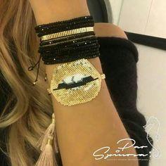 Lips #fashionjewerly #loqueestademoda #cristaljaponés #miyuki #gold #boca #porpedido