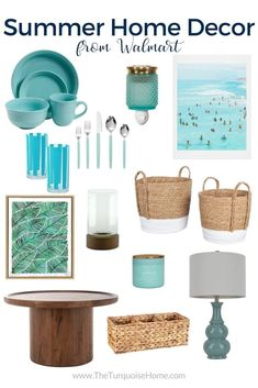 Decorate for summer with pretty blues and citrus decor at great prices from Walmart! It all feels just like you're at the beach! Walmart Home, Styling Bookshelves, Decorative Spheres, Affordable Home Decor, Creative Ideas, Diy Ideas, Decor Ideas, Summer Decorating, Decorating Tips