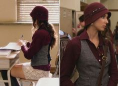 Spencer look from PLL The look: A very matchy-matchy vest/blouse/hat combo with knee-highs The occasion: Class.