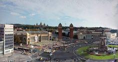 Panorama Ausblick vom Dach der alten Stierkampfarena mit 360 Grad Skywalk in Barcelona