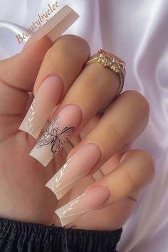 Bling Acrylic Nails, Aycrlic Nails, Best Acrylic Nails, Swag Nails, Stiletto Nails, Butterfly Nail Designs, Butterfly Nail Art, Cute Acrylic Nail Designs, Tapered Square Nails