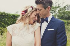 Festival Inspired Backyard Wedding: Lucy + Graham pretty lace dress, adorable navy bowtie/stylish groom