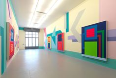 Peter Halley installation  #art, #modern art, #abstract geometry