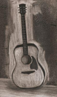 Guitar Drawing- Charcoal                                                                                                                                                                                 More Guitar Sketch, Guitar Drawing, Drawing Sketches, Painting & Drawing, Sketching, Charcoal Sketch, Charcoal Art, Cool Drawings, Pencil Drawings
