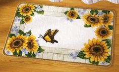 Country Sunflower Bathroom Floor Rug