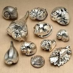 metallic sea shells #KBHomes GREAT IDEA! LOVE!