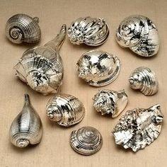 metallic sea shells #KBHomes GREAT IDEA! LOVE!