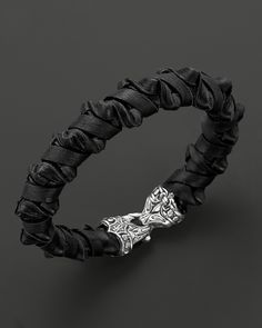 Scott Kay Men's Black Leather Woven Spike Bracelet with Sterling Silver Clasp | Bloomingdale's