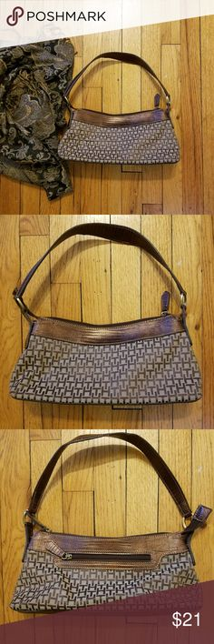 Tommy Hilfiger Tan and Brown Canvas Handbag Classic Tommy Hilfiger tan and brown canvas  small Handbag with snakeskin print leather trim - exterior pocket on back of bag and several interior pockets - zip closure - clean - TH logo print Tommy Hilfiger Bags