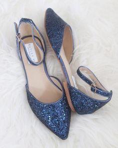 3a61e6a10215 NAVY BLUE Rock Glitter Ankle Strap Flats