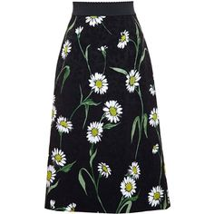 Dolce & Gabbana Daisy Print Jacquard Midi Skirt (£475) ❤ liked on Polyvore featuring skirts, bottoms, black, floral skirt, floral printed skirt, jacquard midi skirt, mid calf length skirts and floral print midi skirt