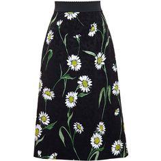 Dolce & Gabbana Daisy Print Jacquard Midi Skirt ($1,245) ❤ liked on Polyvore featuring skirts, bottoms, black, floral skirt, floral print skirt, mid calf skirts, dolce gabbana skirt and elastic waist skirt