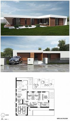 Architektur Combi materialen Preserving Your Baby's Dental Health When it comes to caring for an inf Bungalow House Plans, Bungalow House Design, New House Plans, Small House Design, Dream House Plans, Modern House Plans, Modern House Design, House Layout Plans, House Layouts