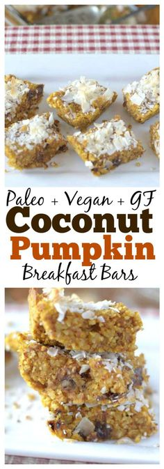 Need a healthy grab n' go breakfast? Make these delicious Paleo Coconut Pumpkin Breakfast Bars for the perfect way to satisfy your early morning appetite!