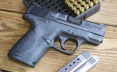 Less than one inch wide, the Smith & Wesson M&P 9 Shield packs up to rounds of Very accurate & smooth shooting. Smith And Wesson Shield, Smith N Wesson, Home Defense, Self Defense, Rifles, M&p 9 Shield, M&p 9mm, Revolvers, Cool Guns