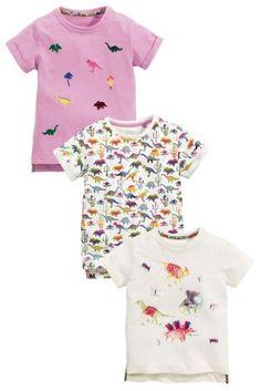 192d45fb80bd7 Buy Ecru Dino Print T-Shirts Three Pack (3mths-6yrs) from the Next UK  online shop