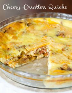 Love quiche, but have no time to bake a pie crust? No problem! Enjoy this crustless, cheesy quiche that's ready in 20 minutes! Yum!