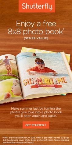Get a free 8x8 photobook from Shutterfly until Sept 20, 2013.  Just pay shipping!  The View - ABC.com