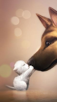 Cute kitten and dog art picture