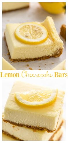 Easy Lemon Cheesecake Bars are perfect for almost any occasion! Made with fresh lemon juice lemon zest cream cheese and sour cream they're tangy sweet and so delicious. If you love lemon and cheesecake you have to try this recipe! Köstliche Desserts, Lemon Desserts, Delicious Desserts, Dessert Recipes, Yummy Food, Healthy Desserts, Healthy Food, Lemon Cheesecake Recipes, Lemon Recipes