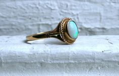 Sweet Vintage 9K Yellow Gold Opal Ring. by GoldAdore on Etsy, $145.00