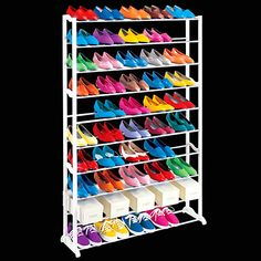 Multi-Pair Show Rack - Organize 20, 30 or 50 pairs of shoes #ShoeOrganizers #GetOrganized