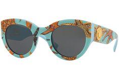 Versace VE4353 528487. Farba rámu: Modré, Farba šošovky: Sivá, Tvar rámu: Cat Eye