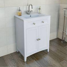 Camberley White 600 Door Unit & Basin | http://www.victoriaplumb.com/Bathroom-Furniture/Vanity-Units/Camberley-White-600-Door-Unit-Basin_1720.html