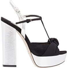 Miu Miu Knotted Bow T-Strap Platform Sandals (1.110 RON) ❤ liked on Polyvore featuring shoes, sandals, heels, miu miu, black, black sandals, heeled sandals, bow sandals, chunky heel sandals and black t strap sandals