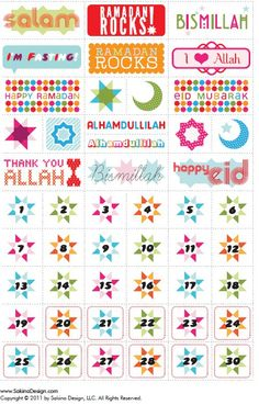 Ramadan Stickers. Eid Stickers, Planner Stickers, Calendar Stickers, Islamic Events, Ramadan Cards, Eid Crafts, Ramadan Activities, Eid Party, Islam For Kids