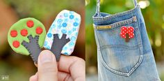 little tree brooches by mochikaka on Etsy