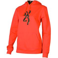 Women's Browning Hoodie - Buckmark Camo Hooded Sweatshirt Melon Back40trading.com